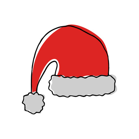 Hand drawn hat of Santa Claus. Vector illustration. Ilustrace