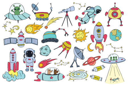 Set of different space objects. Hand drawn sketch. Vector illustration.
