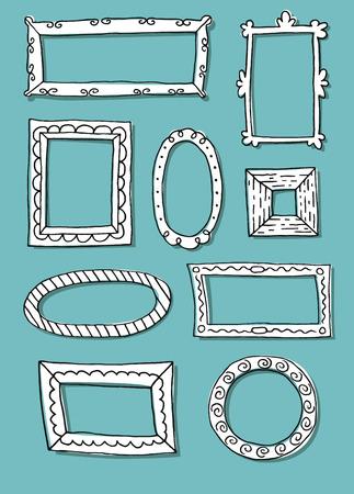 Set of hand drawn sketch frames. Vector illustration.