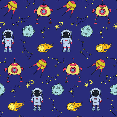 Seamless pattern with hand drawn different space objects. Vector illustration.