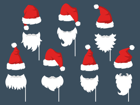 Set of piece photo booth props for Santa Claus. Vector illustration.