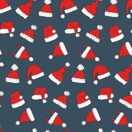 Seamless pattern with hand drawn hats of Santa Claus. Vector illustration.