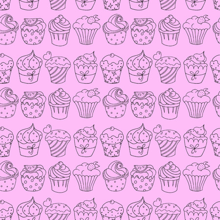 Seamless pattern with cupcakes on pink background. Vector illustration.