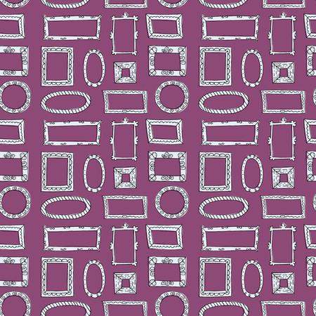 Seamless pattern with hand drawn sketch frames. Vector illustration. Ilustração