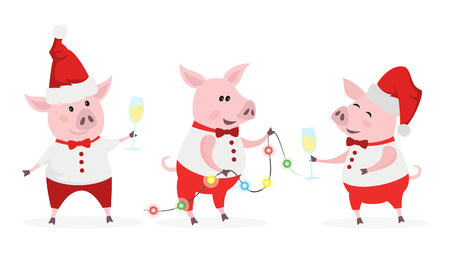 Cute pigs with champagne and garland. Symbol of Chinese New Year 2019. Vector illustration.