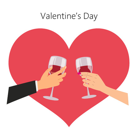 Man and woman with red wine glasses. Valentine's day concept. Vector illustration. 矢量图像