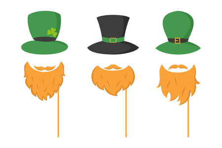 Set of different piece photo booth props with Irish leprechaun (hat and beard). Vector illustration. Illustration