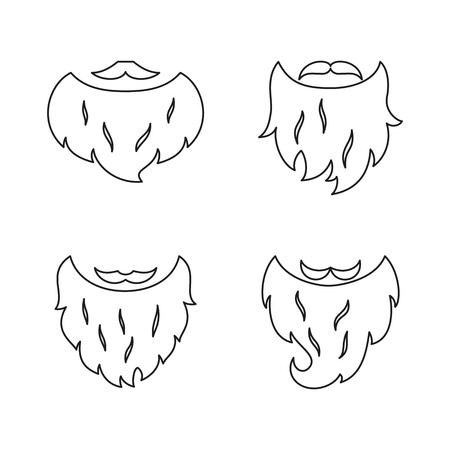 Set of Beards on white background. Vector illustration.