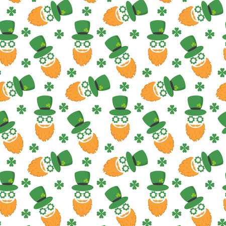 Seamless pattern with St. Patrick`s day icons. Vector illustration.