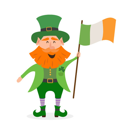 Leprechaun is holding the flag of Ireland. Saint Patrick's Day concept. Vector illustration.