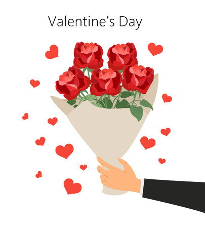 Man holds a bouquet of roses. St. Valentines day concept. Vector illustration.