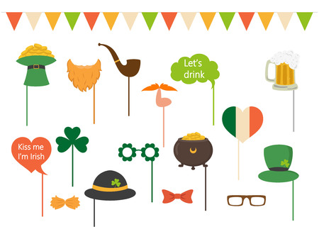 Set of different elements for photo Patricks Day. Saint Patricks Day concept. Vector illustration.