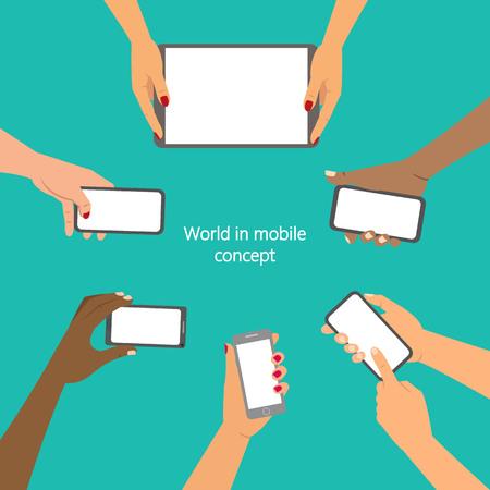 Mobile application concept, hands holding a phones. Vector illustration. Ilustração Vetorial