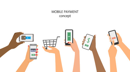 Mobile payment concept, hands holding a phone. Vector illustration. Çizim