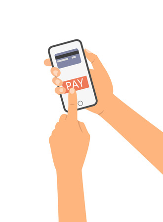 Mobile payment concept, hand holding a phone. Vector illustration.
