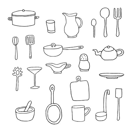 Set of  cartoon kitchen tools. Vector illustration.