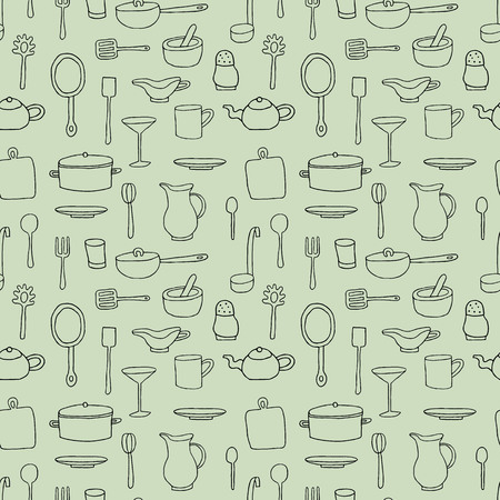 Seamless pattern with cartoon kitchen tools. Vector illustration.
