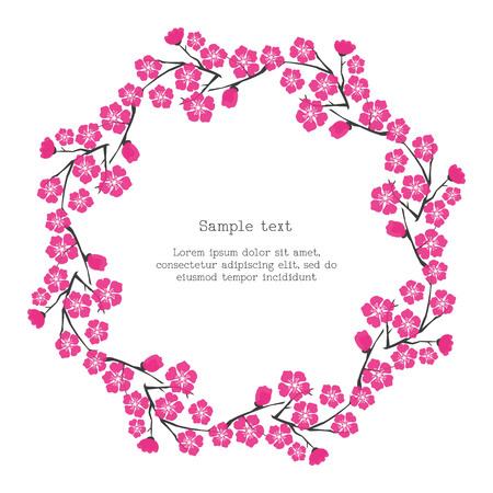 Floral frame with cherry blossom. Design for poster, card, invitation, placard, brochure, flyer, valentines day, wedding card. Vector Illustration. Illustration