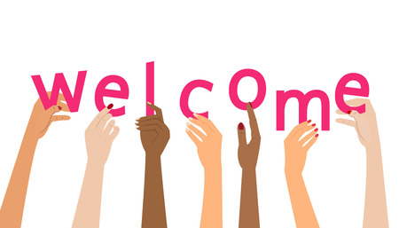 Welcome concept on white background. Vector illustration.