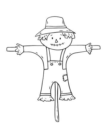 Espantapájaros de dibujos animados sobre fondo blanco. Ilustración vectorial.