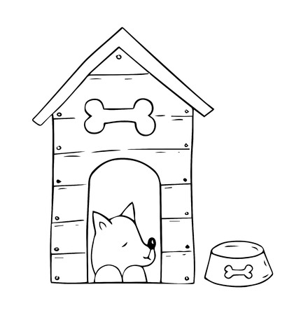 Cartoon  dog In the booth on white background. Vector illustration