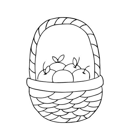 Basket with apples on a white background. Vector illustration. Çizim