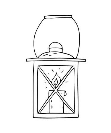 Cartoon sketch lamp on a white background. Vector illustration. Çizim