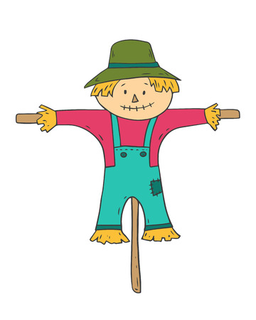 Cartoon scarecrow on white background. Vector illustration. Çizim