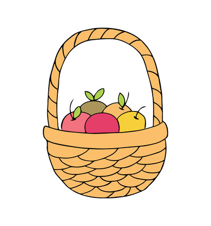 Basket with apples on a white background. Vector illustration. Illusztráció