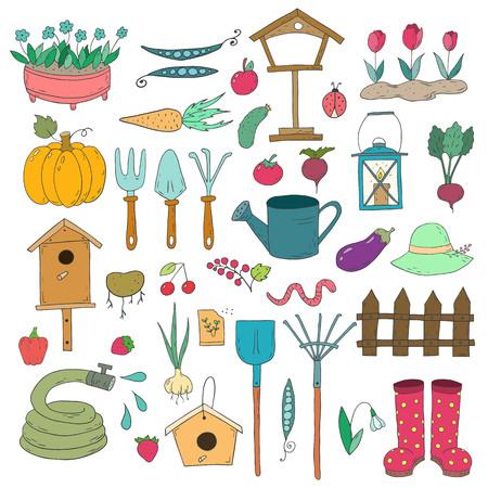 Set of cartoon gardening items a white background. Vector illustration.