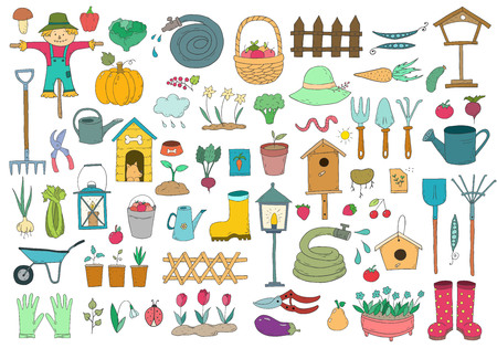 Conjunto de elementos de jardinería de dibujos animados un fondo blanco. Ilustración vectorial.