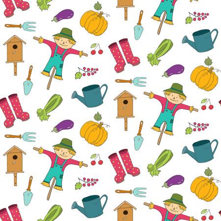 Patrón sin fisuras con elementos de jardinería de dibujos animados. Ilustración vectorial. Ilustración de vector