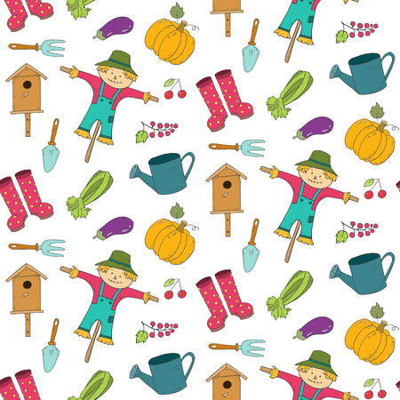 Seamless pattern with cartoon gardening items. Vector illustration.