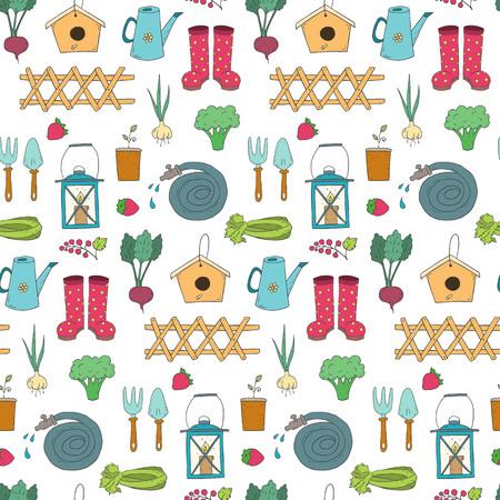 Seamless pattern with cartoon gardening items. Vector illustration.