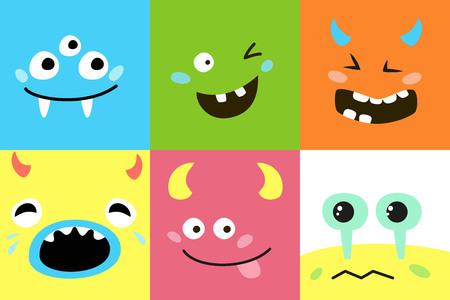 Set of cartoon monster faces. Vector illustration. Ilustração