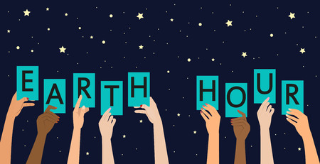 Earth hour text, ecology concept. Vector illustration. Çizim