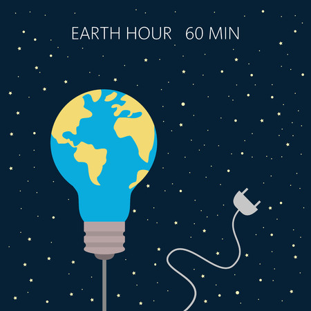 Earth hour, our planet, ecology concept. Vector illustration.