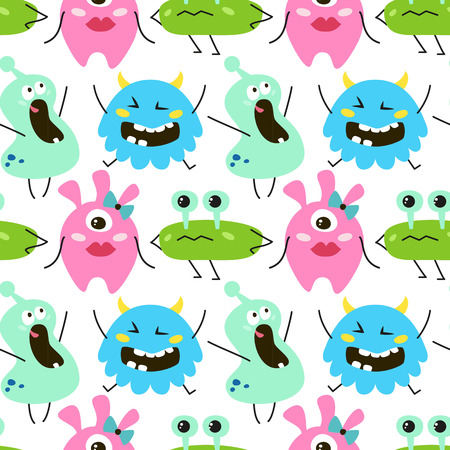 Seamless pattern with cartoon monsters. Vector illustration.