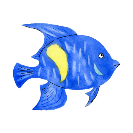 Tropical butterfly fish on white background. Hand drawn watercolor illustration. Banco de Imagens