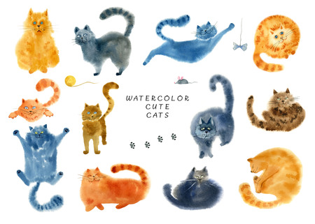 Set of cute cats on white background. Hand drawn watercolor illustration.