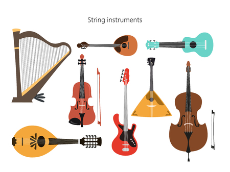 Set of stringed instruments on the white background. Vector illustration.