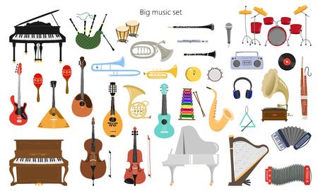 Set di strumenti musicali su fondo bianco. Illustrazione vettoriale.