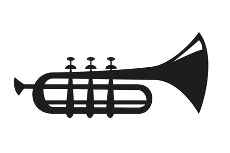 Icona di tromba su priorità bassa bianca. Icona dello strumento musicale. Illustrazione vettoriale.
