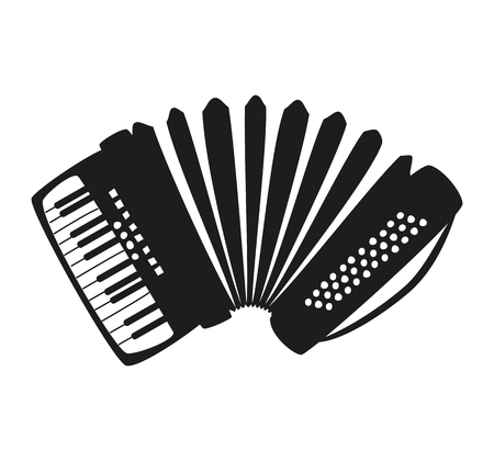 Accordion on the white background. Vector illustration.
