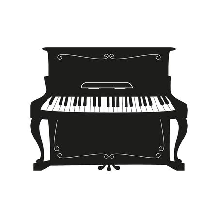 Piano sur fond blanc. Illustration vectorielle.