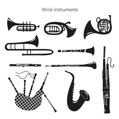 Set di strumenti a fiato su fondo bianco. Illustrazione vettoriale.