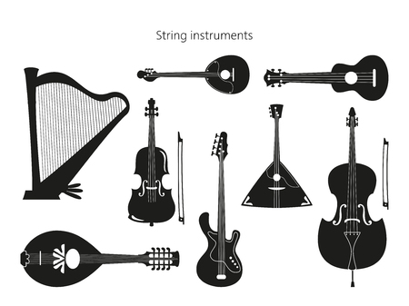 Set of stringed instruments on the white background. Vector illustration. Vettoriali