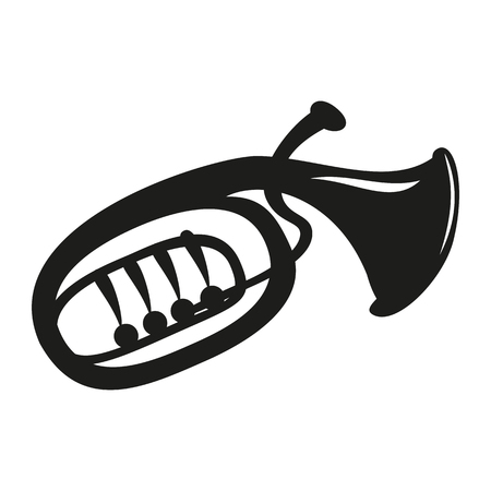 Classical baritone horn on the white background. Vector illustration.