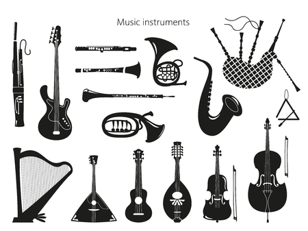 Set di strumenti musicali su fondo bianco. Illustrazione vettoriale. Vettoriali