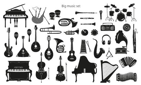 Conjunto de instrumentos musicales sobre fondo blanco. Ilustración vectorial.